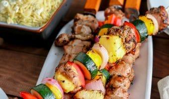 Roasted Garlic & Black Pepper Grilled Pork Kabobs