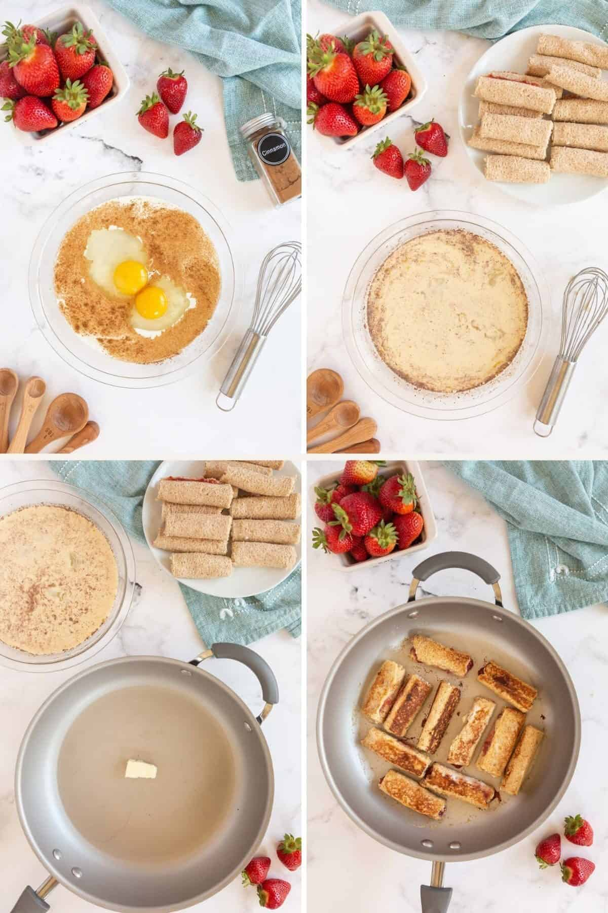 dipping and cooking french toast rolls