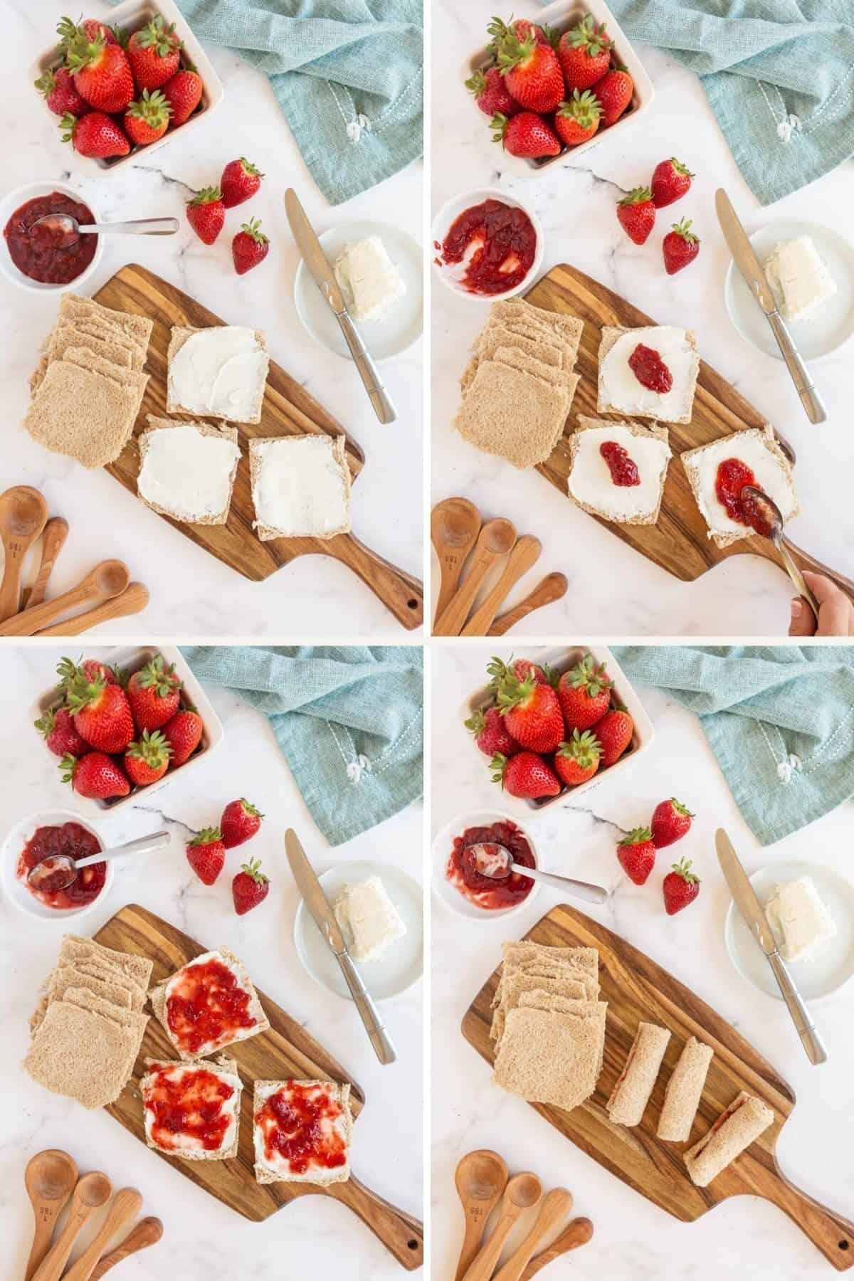 making strawberry cheesecake roll ups