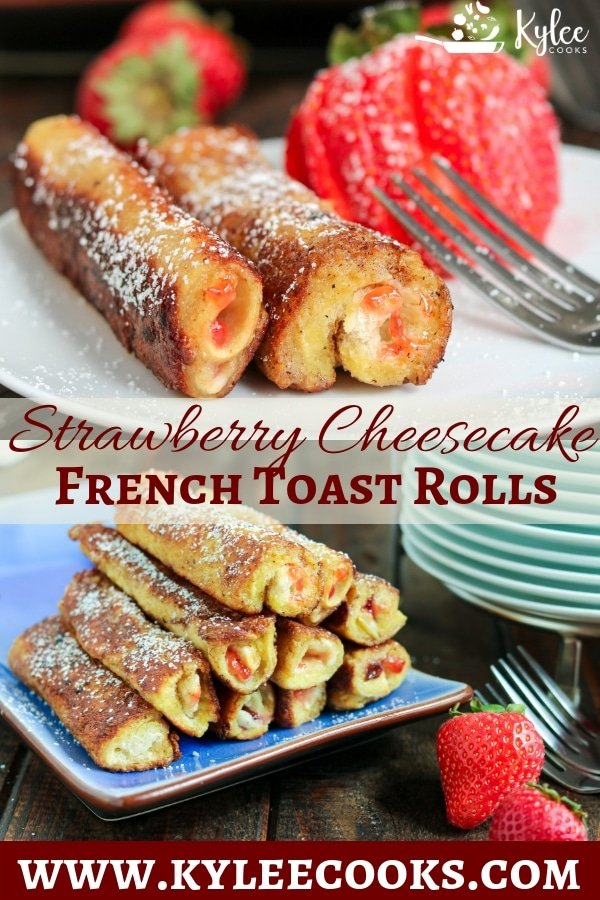 Collage with strawberry French toast rolls on a plate with sliced strawberry at top and a stack of French toast rolls on blue serving plate at bottom.