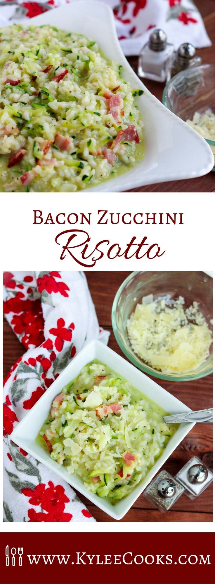 A perfect way to use up summer squash, the Bacon Zucchini Risotto is creamy, bright and fresh - so yummy! This is a great one pan dinner, or a perfect side. #risotto #bacon #zucchini #recipe #kyleecooks