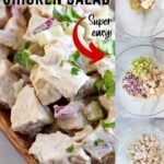 chicken salad with text overlay
