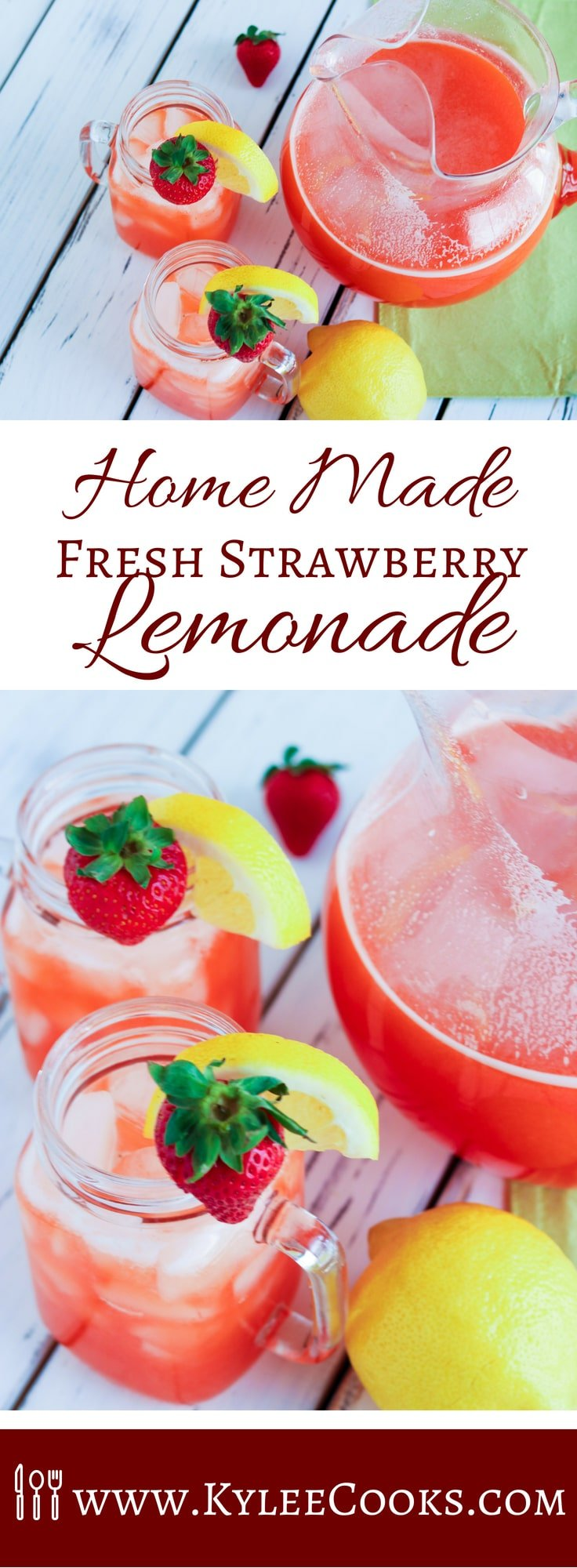 A refreshing summer cooler, this Home Made Fresh Strawberry Lemonade, made from fresh fruit, and sweetened with your choice of honey, maple syrup or sugar! This is a delicious way to hydrate! #strawberry #lemonade #summerdrinks