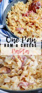 ham and cheese pasta text overlay