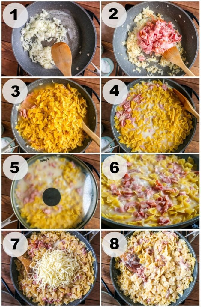 step by step showing how to make ham and cheese pasta