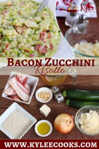 zucchini risotto collage with recipe title overlaid in text