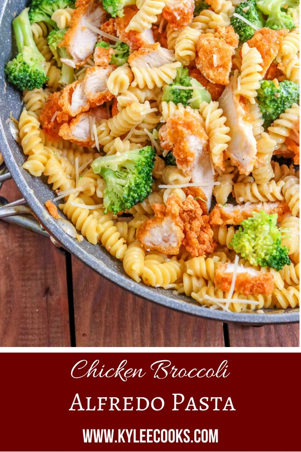 Broccoli Chicken Alfredo Pasta - pin with text overlay