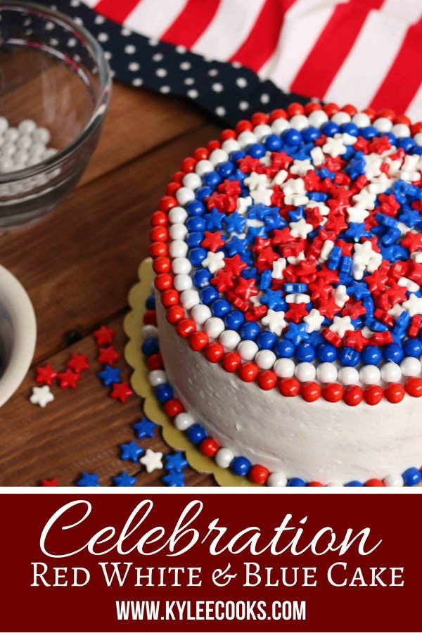 This Celebration Red White & Blue Cake is super fun to decorate, and even more so to eat! Get your holiday on! #ad @sweetworks #celebration #holiday #4thjuly