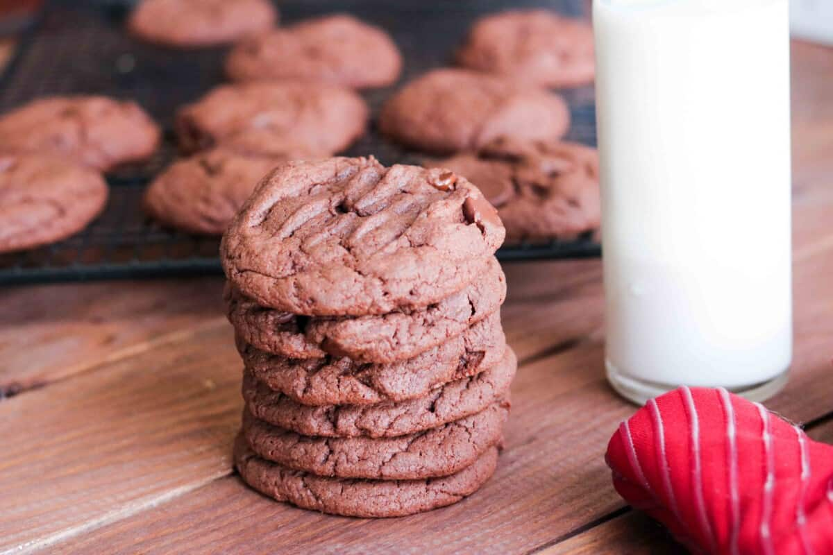chocolate cookies stacked