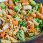Broccoli Chicken Alfredo Pasta in pan.