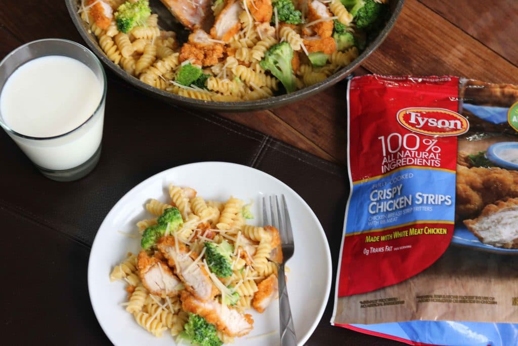 Broccoli Chicken Alfredo Pasta - with Tyson Crispy Chicken Strips