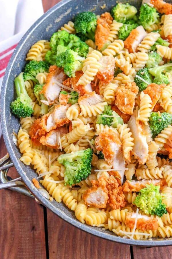 chicken and broccoli alfredo in a skillet