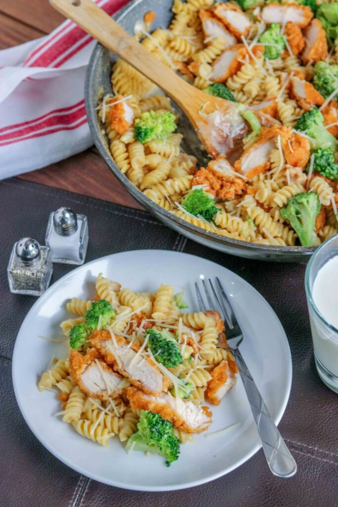 Broccoli Chicken Alfredo Pasta - with skillet and plate