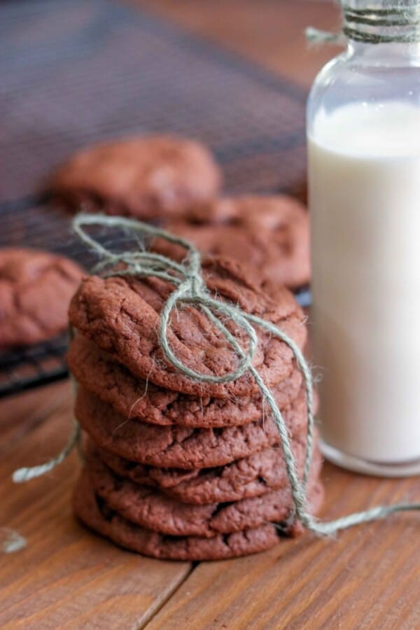 chocolate cookies stacked and tied with blue string