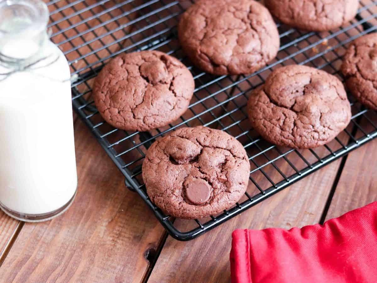 chocolate cake mix cookies on a cooling rack