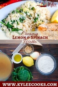 spinach risotto collage with recipe title overlaid in text