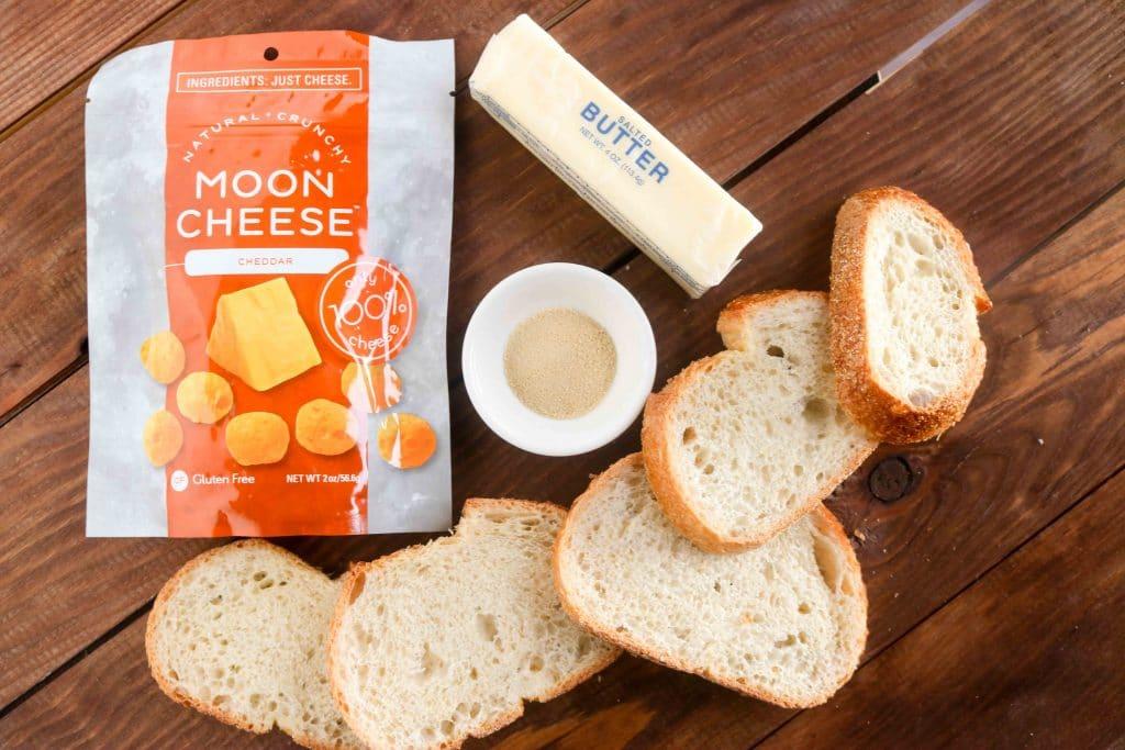 crunchy cheesy garlic bread - horizontal, ingredients