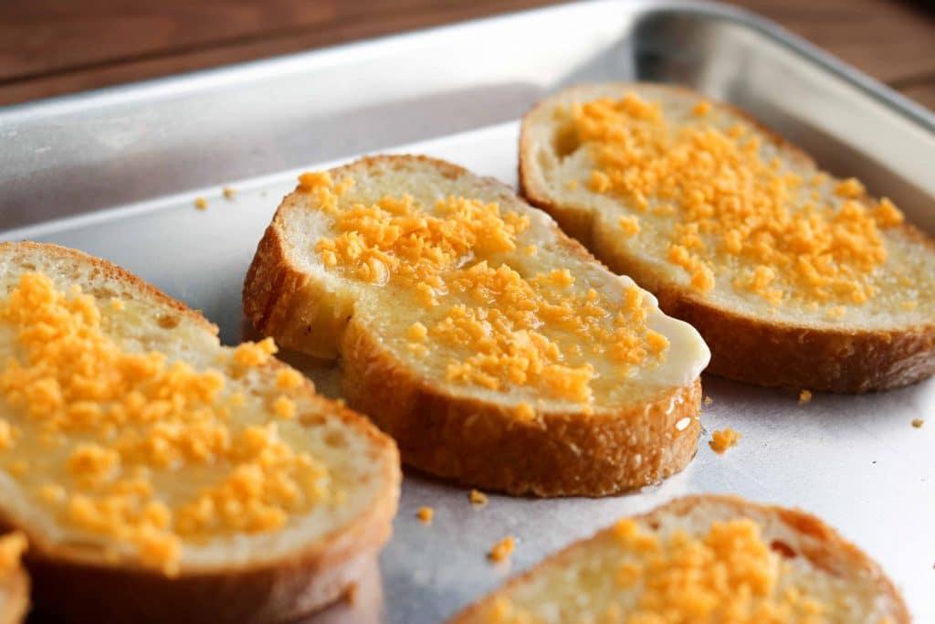 crunchy cheesy garlic bread - horizontal, oven tray