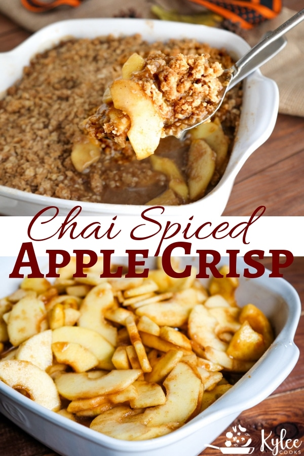 A new take on a traditional Fall favorite, my Chai Spiced Apple Crisp combines gorgeous chai flavors with apples, topped with a decadent, crunchy and buttery topping.  #chai #applecrisp #fall #dessert