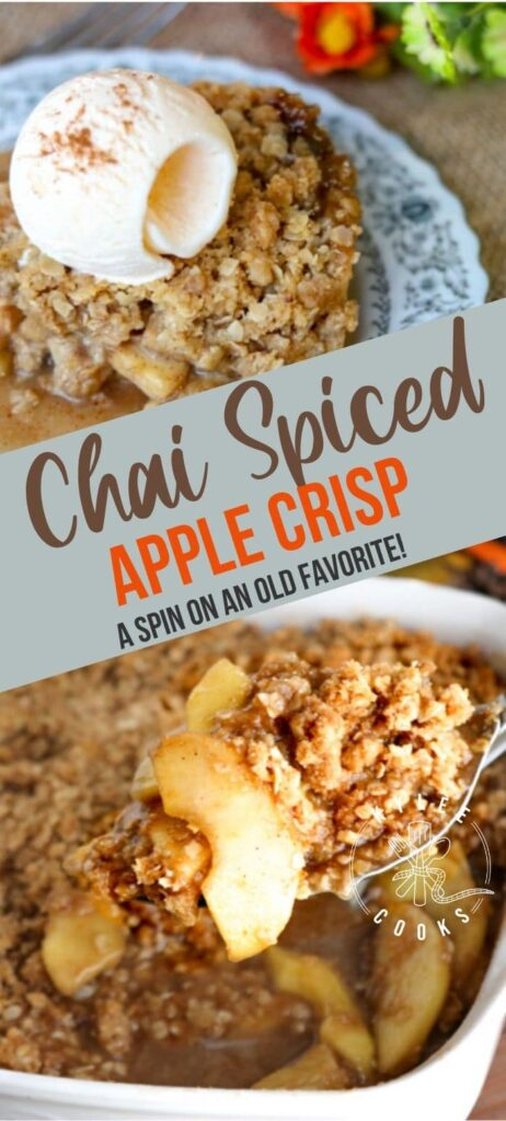 Chai Spiced Apple Crisp pin with text overlay