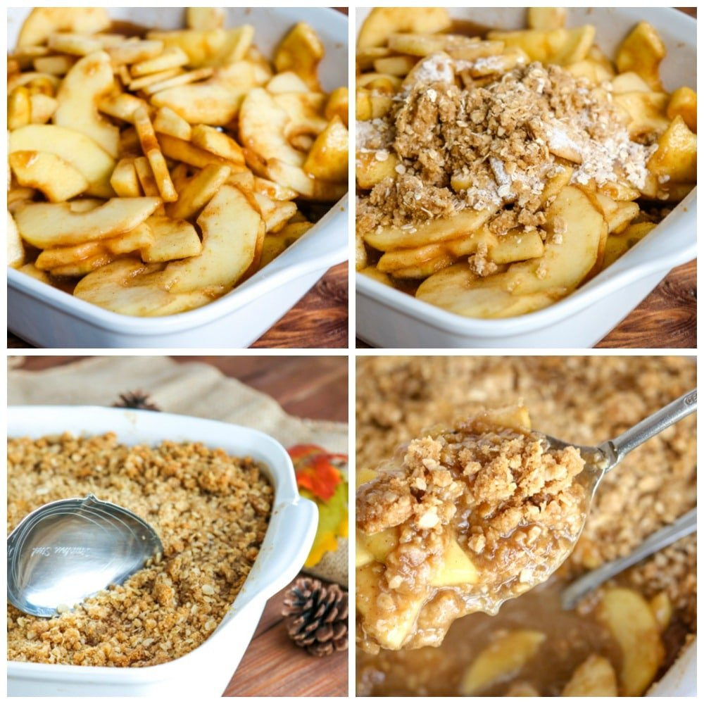 Collage of apple crisp process with spiced apples in upper left, sprinkling crisp mixture on to apples in upper right, a spoon dipping into apple crisp in lower left, and an overhead shot of a spoon full of apple crisp in lower right.