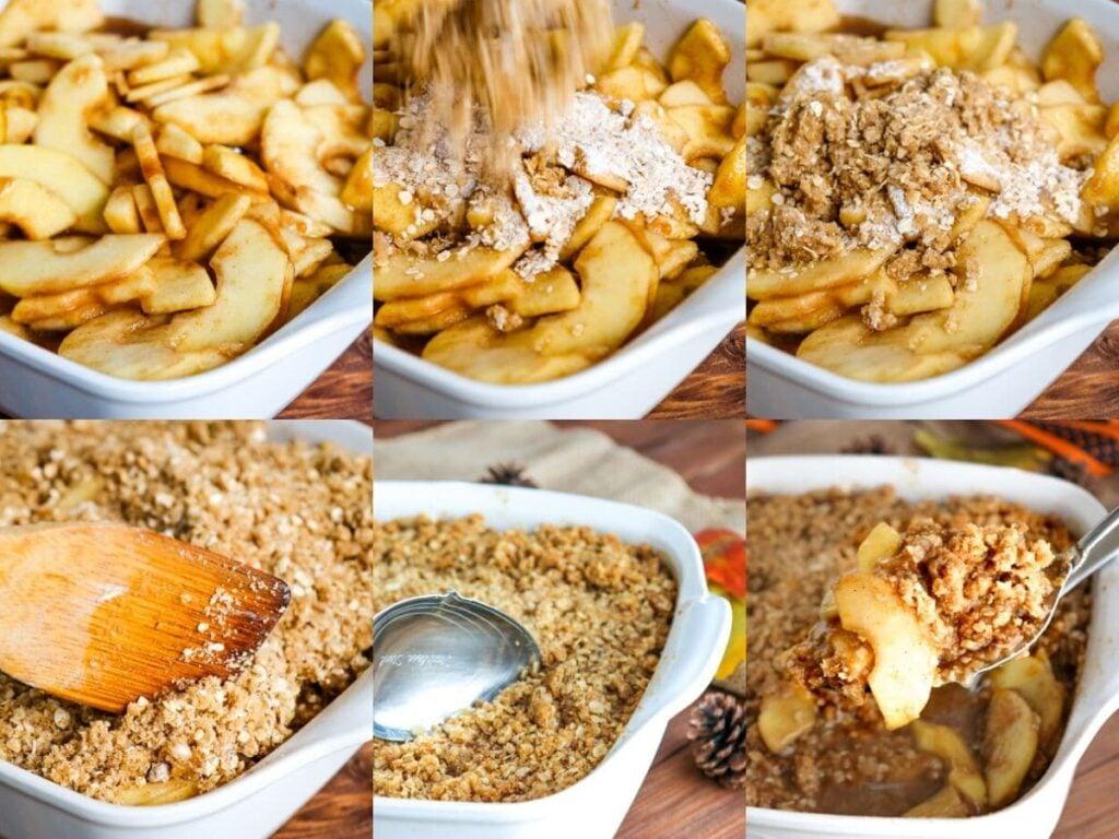photo collage of steps to make apple crisp