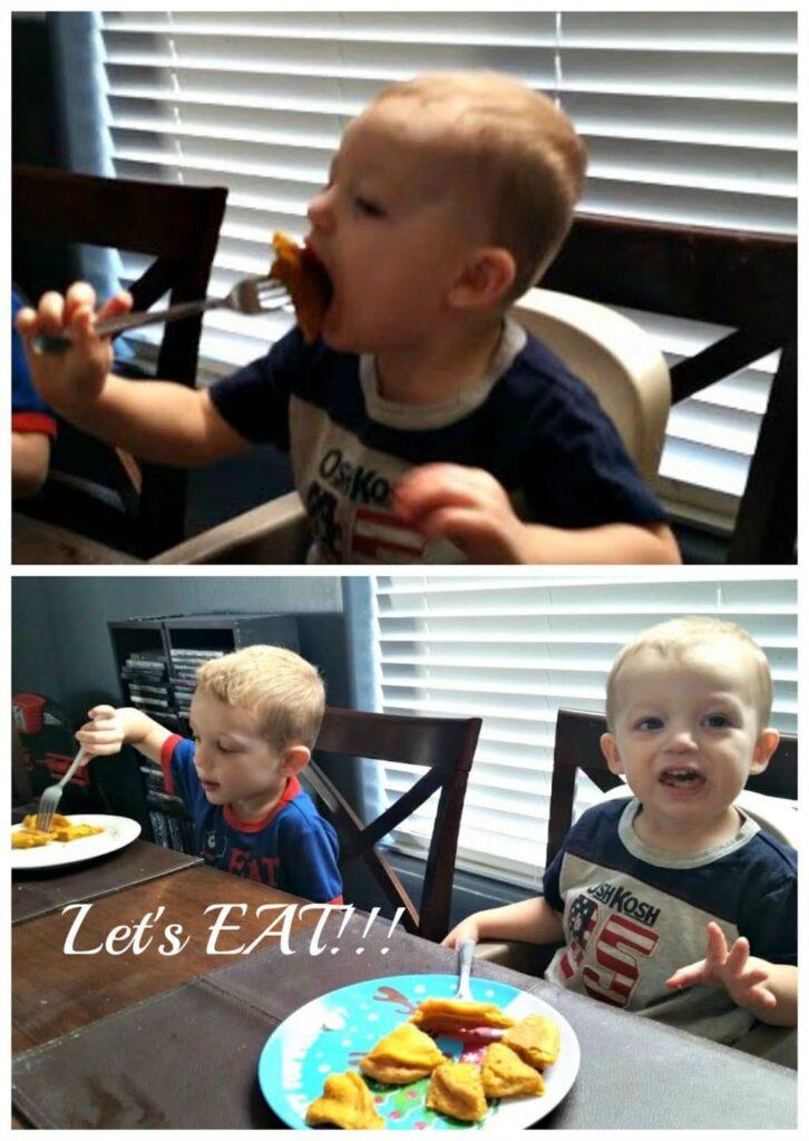 kids eating pumpkin spice pancakes