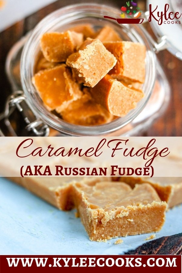 caramel fudge (russian fudge) pin with text overlay