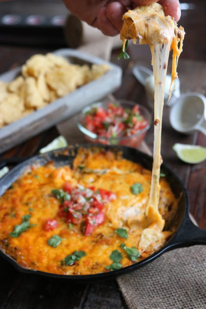 queso dip with cheese pull