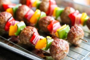Italian Style Meatball Kabobs – an easy dinner!