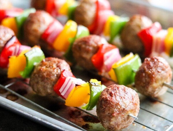 A close up of Meatball Kabobs