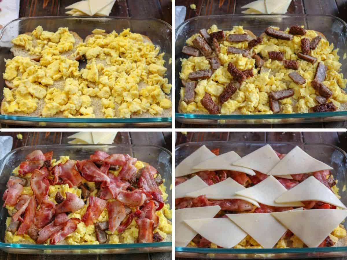 collage of process shots showing how to make breakfast sliders