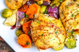 Roast Chicken with Vegetables & Balsamic Glaze
