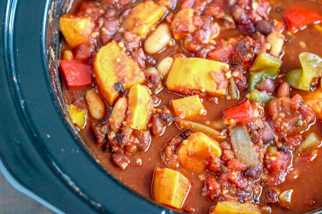 Close up of chili in Crockpot.
