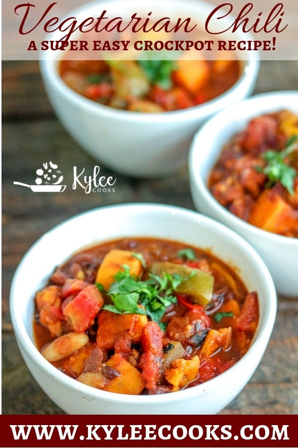 This simple vegetarian chili is perfect for cool weather, packed with peppers, onions, beans, tomatoes, and sweet potatoes - this is a great crockpot chili! #crockpot #chili #vegetarian #vegan