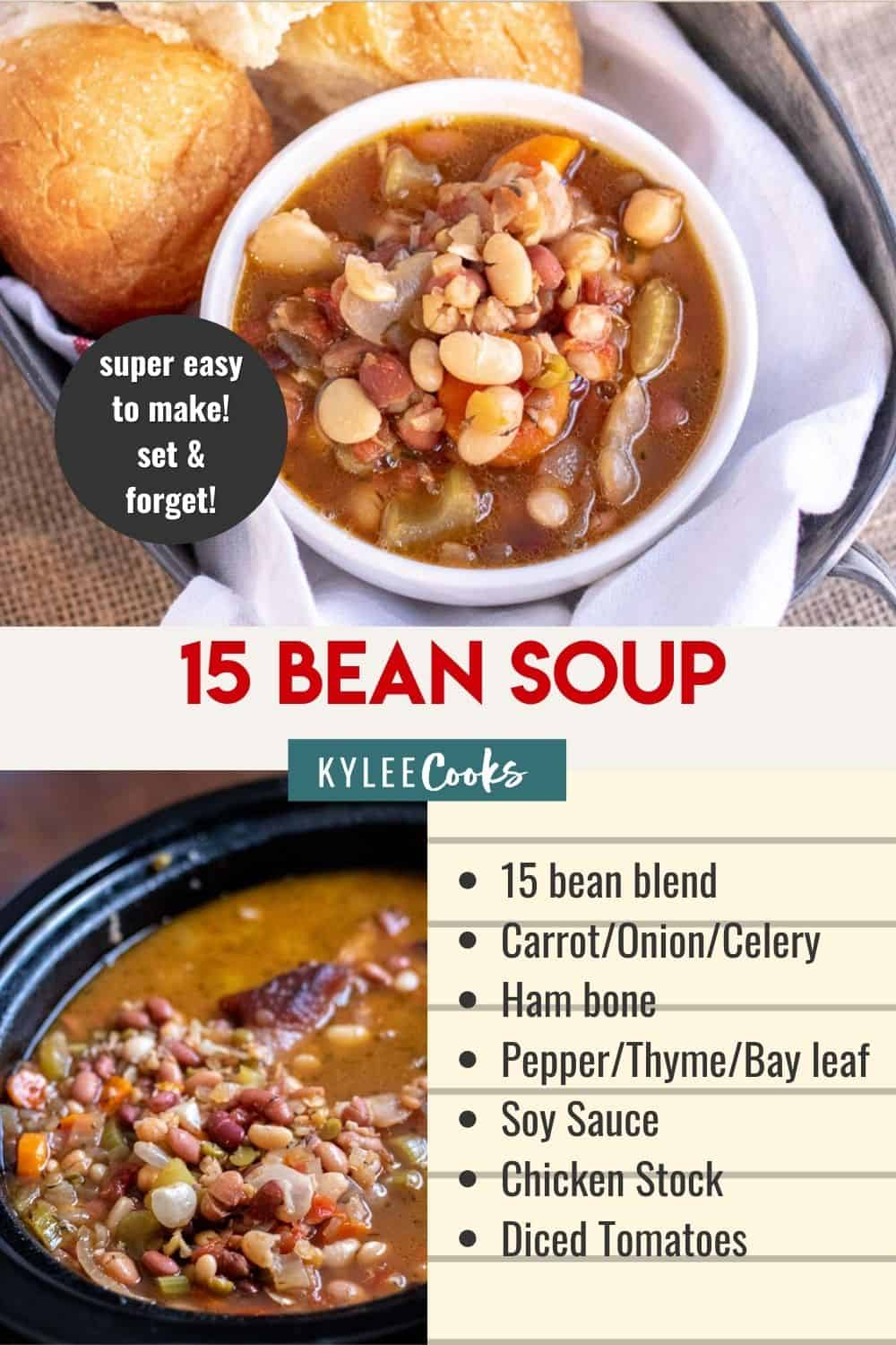 15 bean soup in a crockpot with recipe title over the top