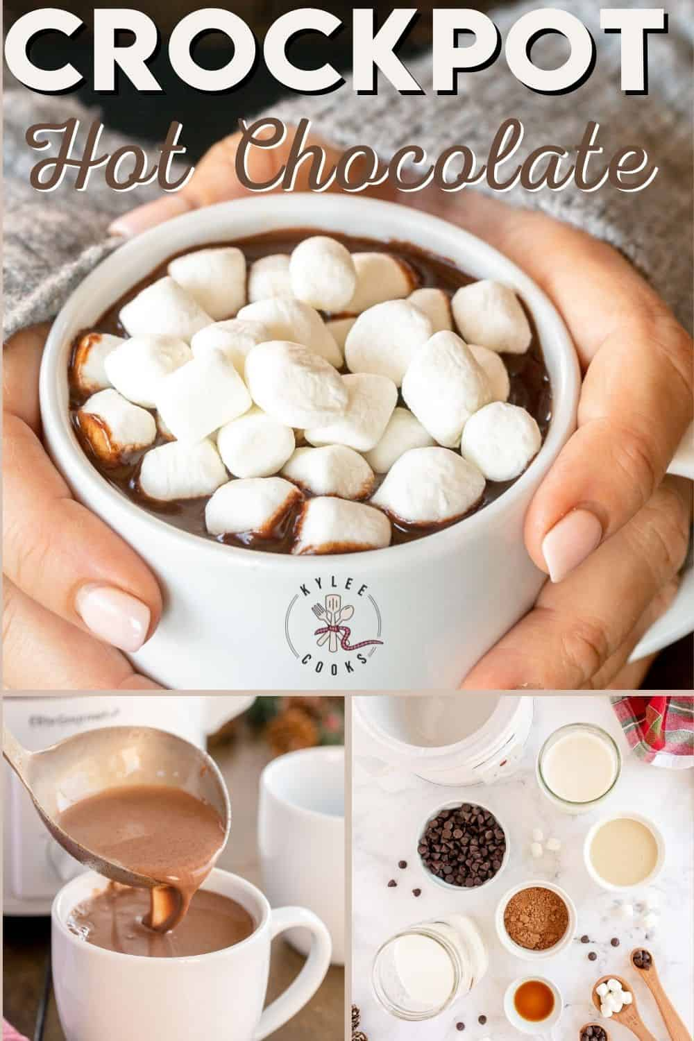 collage of crockpot hot chocolate with winter decorations with text overlay