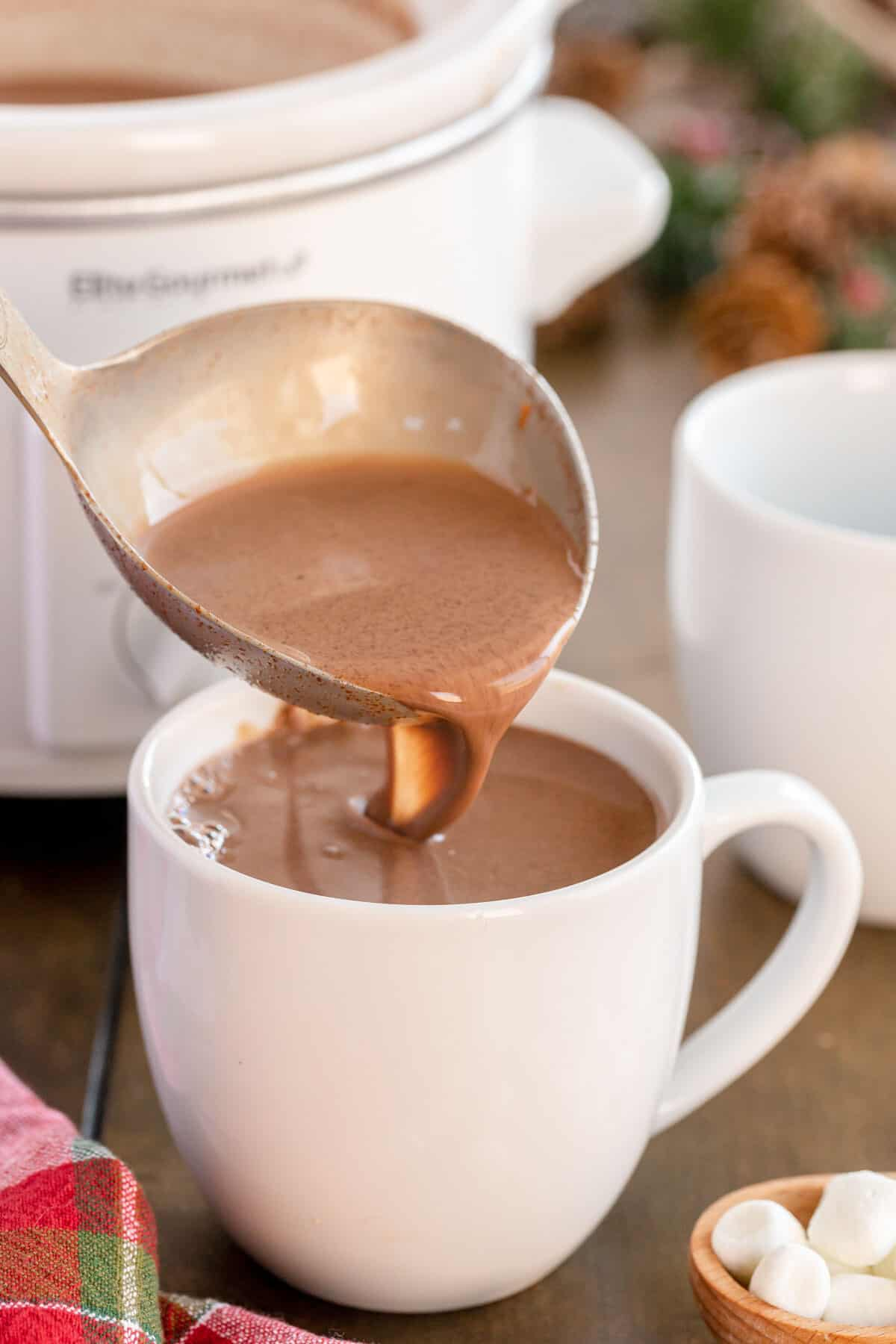 ladle of hot chocolate in a slow cooker