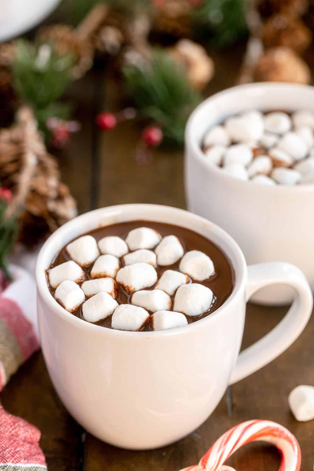 white mug of crockpot hot chocolate with winter decorations