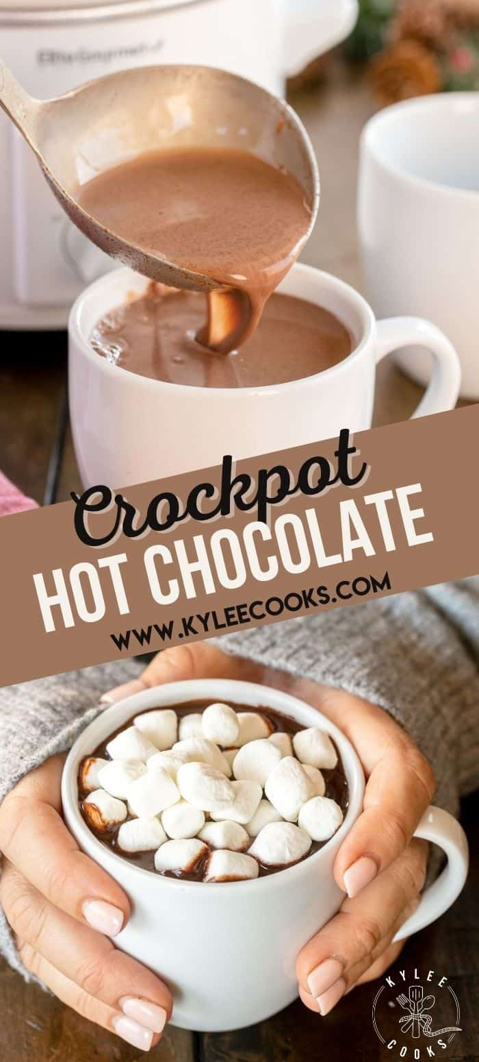 collage of white mug of crockpot hot chocolate with winter decorations with text overlay