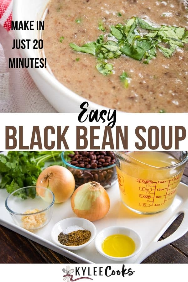 black bean soup pin with text overlay