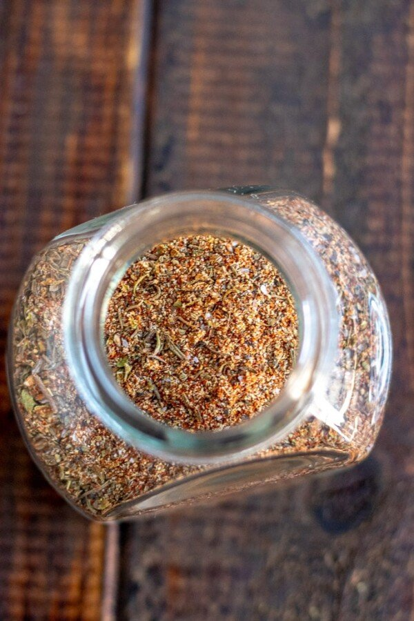 cajun spice blend in a glass jar