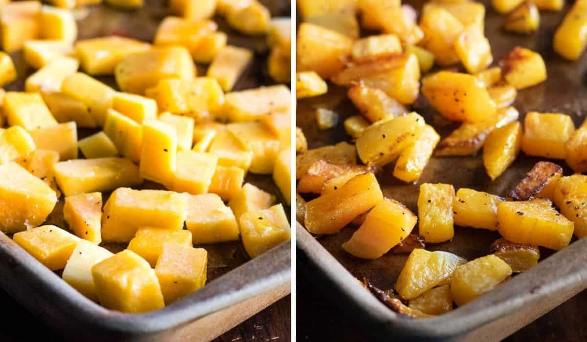 collage of before and after roasting butternut squash