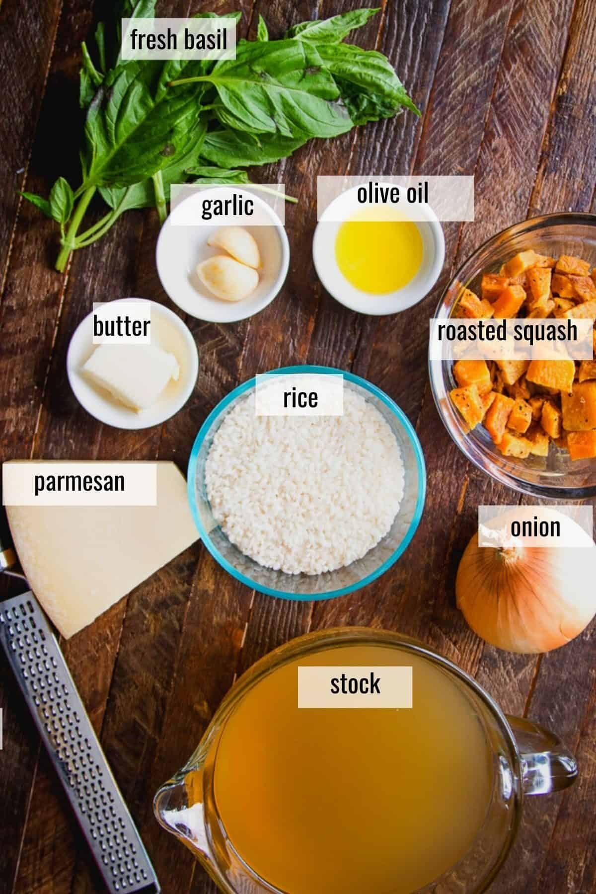 ingredients laid out on a board and labeled