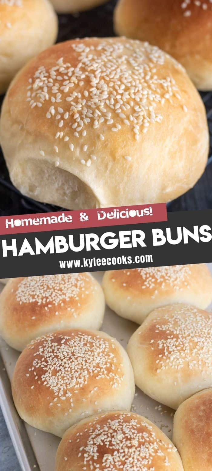 hamburger buns with the recipe title in text overlaid