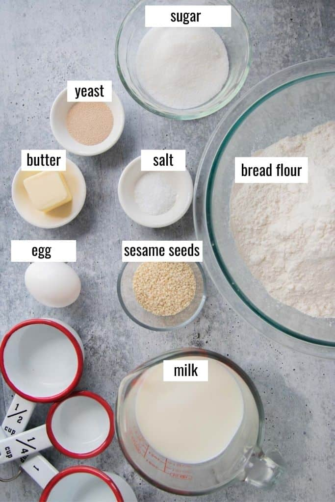 ingredients for homemade burger buns laid out labeled