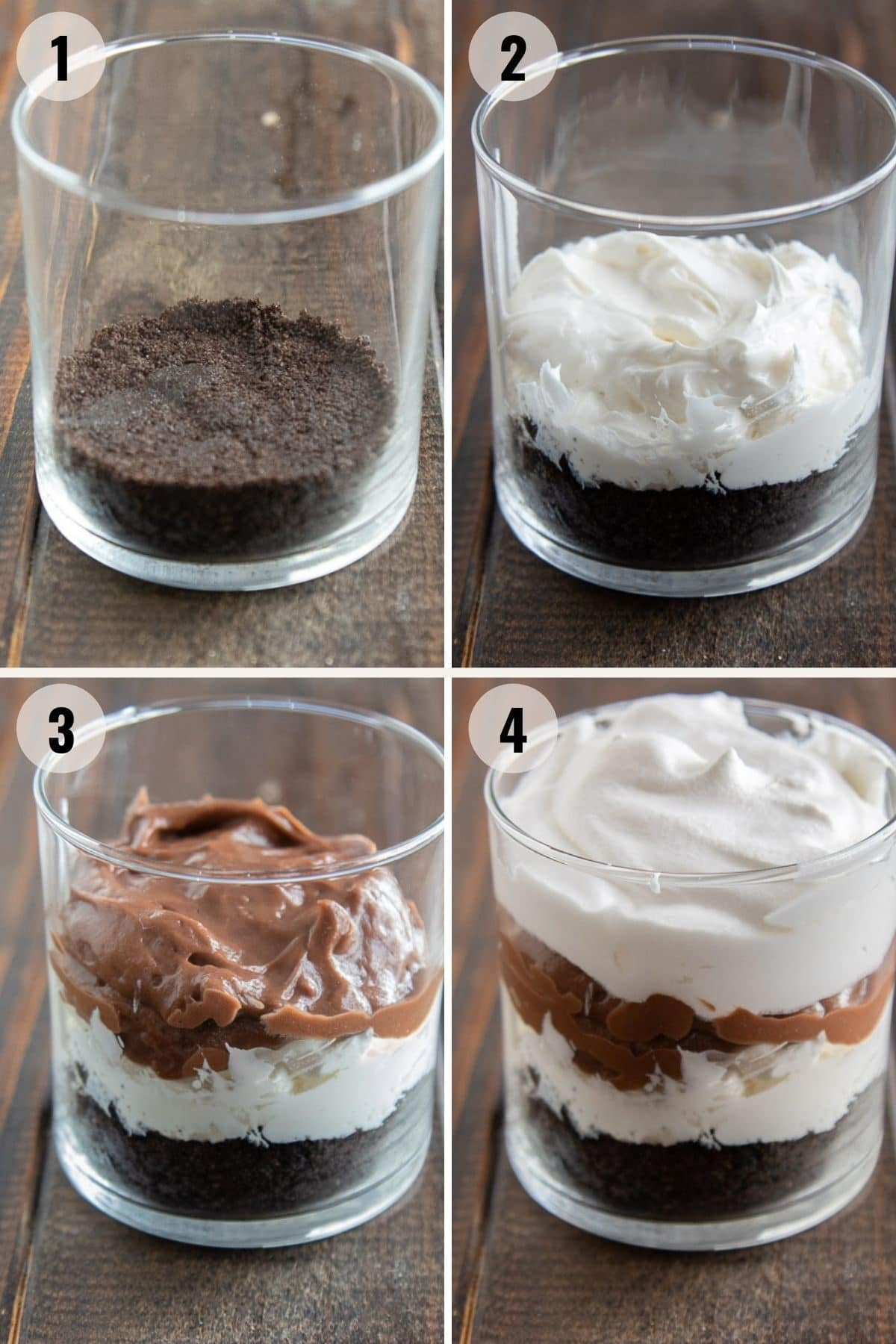 step by step showing how to make oreo dirt pudding