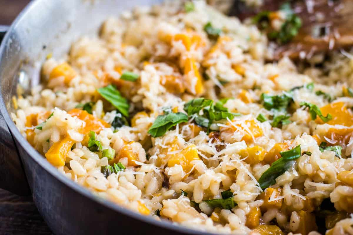 risotto in a skillet