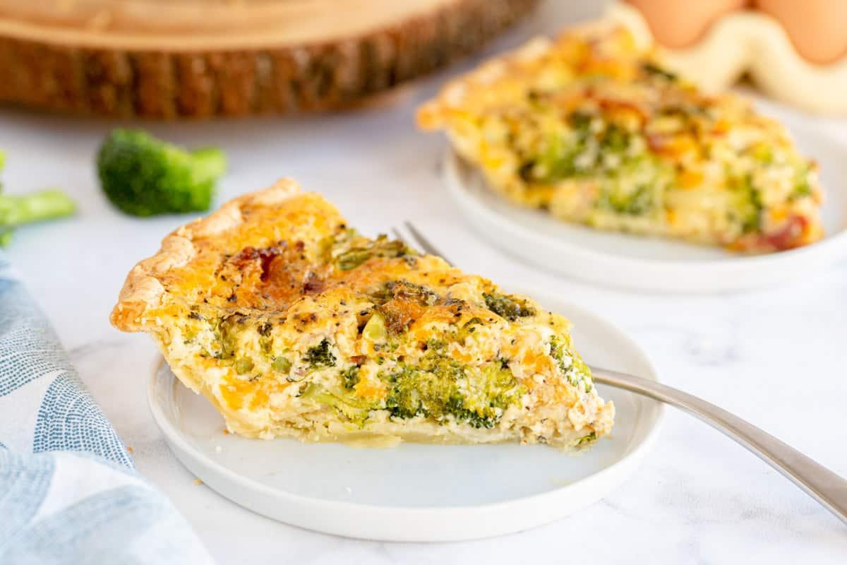 broccoli quiche on a plate