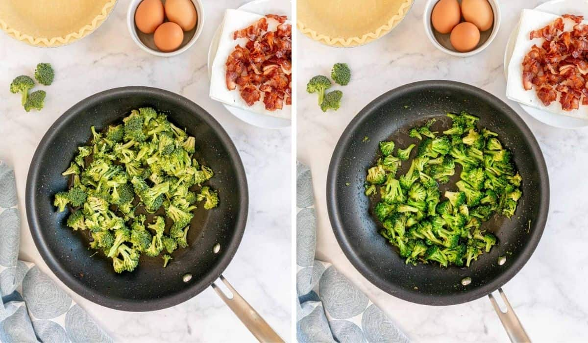 cooking broccoli in a skillet